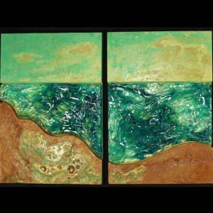 """Ocean"" Hand-Formed Glass, Bronze & Concrete"