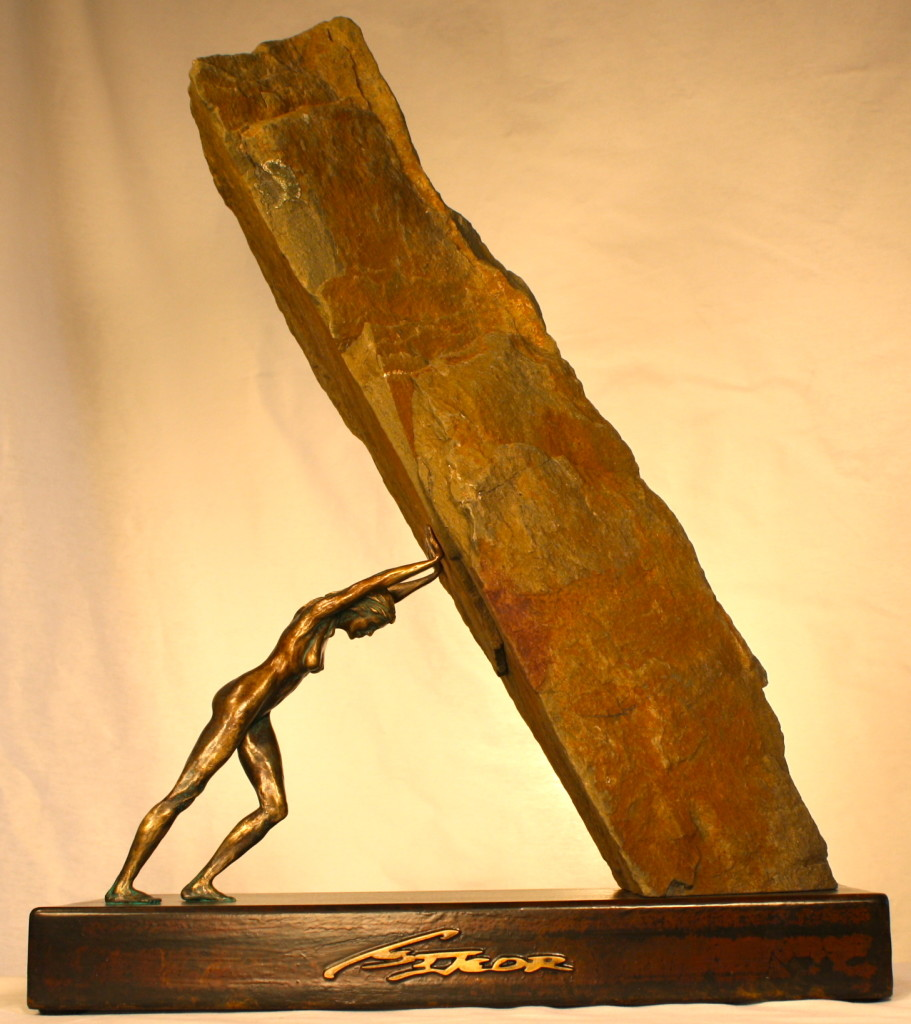 Perpetual Push, Bronze & Stone