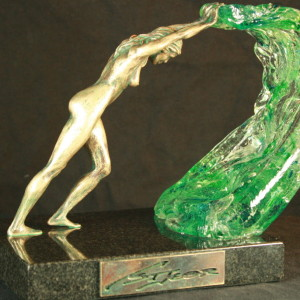 """Perpetual Push"" Bronze & Hand-Formed Glass"