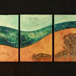 """Flow"" Hand-Formed Glass, Bronze & Concrete"